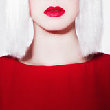 Red lips of beauty young woman Stock Photos