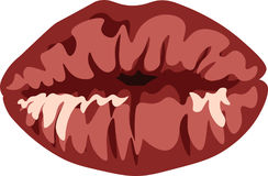 Red lips biting retro icon isolated on white background. Vector illustration. Stock Photo
