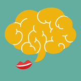 Red lips and brain talk Royalty Free Stock Images