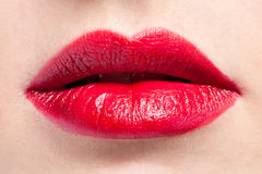 Red lips close-up royalty free stock photos