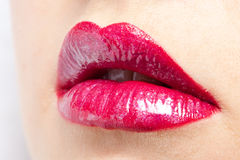 Red lips close-up Stock Images