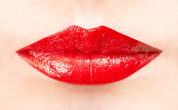 Red lips close-up. Female lips close up, red color Royalty Free Stock Images