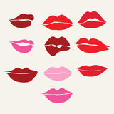 Red lips close up girls..Collection of women's mouths and  lips Stock Image