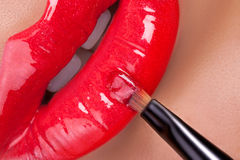 Red lips close-up. Stock Images