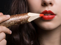 Red lips close-up. Royalty Free Stock Image