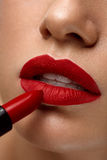 Red Lips. Closeup Of Woman Beauty Face With Bright Lipstick On Royalty Free Stock Photos