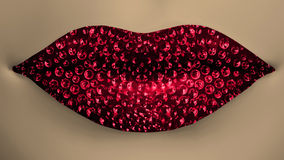 Red lips with diamonds Royalty Free Stock Photos