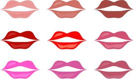 Red lips of different colors on a white background. Vector, design element, beauty and fashion Stock Photos