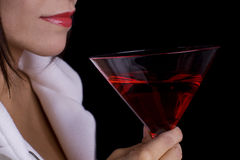 Red lips and drink Stock Images