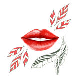 Red lips with feathers. Red lips with doodle feathers Royalty Free Stock Images