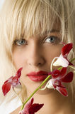 Red lips and flower Stock Image