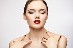 Red lips girl with closed eyes. Joy concept Royalty Free Stock Photos