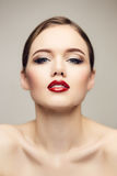Red lips girl flirting with camera Royalty Free Stock Photography