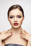 Red lips girl flirting with camera Stock Photos