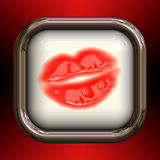 Red Lips Glossy Button Royalty Free Stock Photography