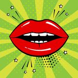 Red lips on green background in pop art style. Vector stock illustration