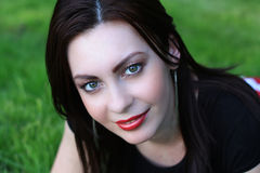 Red Lips, Green Eyes. Woman Portrait, red lips, green eyes Royalty Free Stock Image