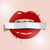 Red lips holding a blank paper banner on light background, vector illustration Stock Photography