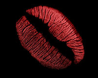 Red lips imprint on black Stock Image