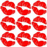Red lips kiss isolated on red background. Ornament texture decoration card kiss royalty free illustration
