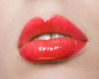 Red lips make up Royalty Free Stock Photos