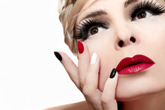 Red lips. Stock Photos