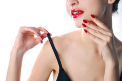 Red lips and manicure Royalty Free Stock Images