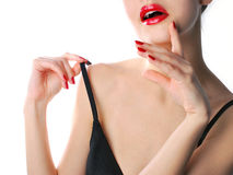 Red lips and manicure Royalty Free Stock Photography