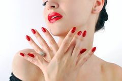 Red lips and manicure Royalty Free Stock Photo