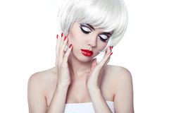 Red Lips and Manicured Nails. Fashion Stylish Beauty Portrait wi Royalty Free Stock Photo