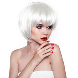 Red lips and manicured nails. Fashion Stylish Beauty Woman Portr. Ait with White Short Hair. Vogue Style Woman. Hairstyle Royalty Free Stock Image
