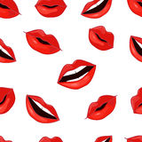 Red Lips Pattern. Vector Illustration Stock Photos