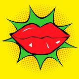 Red lips in pop art vector illustration