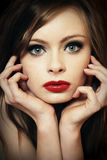 Red lips portrait Royalty Free Stock Image
