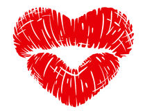 Red lips print in heart shape Royalty Free Stock Photography