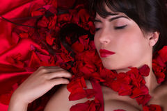 Red lips and rose petals Stock Image