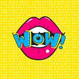 Red lips saying Wow.Vector Pop Art illustration of Open mouth and WOW Message vector illustration