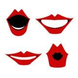 Red lips, a set of gestures, articulation Vector. Red lips, a set of gestures, articulation. Vector vector illustration