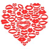 Red lips set in heart,vector. Isolated red lips set in heart,vector on white background Stock Photos