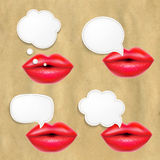 Red Lips Set With Speech Bubbles Stock Photos