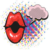 Red lips with speach bubble female mouth in pop art style for advertising Stock Image