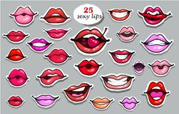 25 Red lips sticker collection. Illustration isolated on grey background. Patches set. Banner.Fashion patch badges royalty free illustration