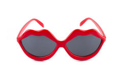 Red lips sunglasses Stock Images