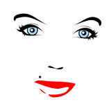 Red lips. Vector face. Vector illustration of face with mole royalty free illustration