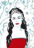 Red lips vector woman royalty free illustration