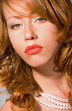 Red lips woman Stock Photography
