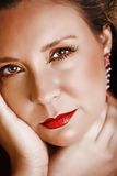 Red lips woman royalty free stock photo