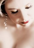Red lips woman royalty free stock image