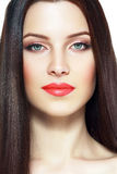 Red lips woman royalty free stock images