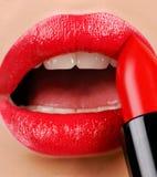 Red lipstick stock photo